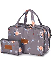 a17d2b2a3cbe50 Travel Makeup Bag Toiletry Bags Large Cosmetic Cases for Women Girls Water- resistant (gray