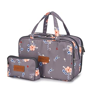 220eb8b996cb Travel Makeup Bag Toiletry Bags Large Cosmetic Cases for Women Girls  Water-resistant (gray floral/makeup...