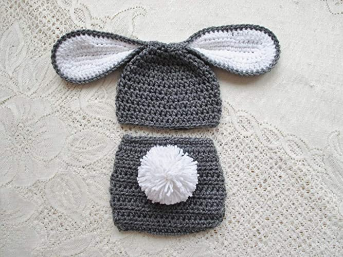 Amazon.com  Baby Easter Bunny Crochet Hat and Diaper Cover Set - Photo Prop  - Available in 0 to 24 Months  Handmade 77a4d8fb453