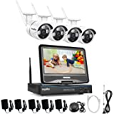 """SANNCE 4CH Megapixel 720P Wireless Outdoor IP Camera System with Build-in 10.1"""" LCD Monitor and (4) 1.0MP Security HD Network IP NVR Wifi Kit Support Smartphone Remote view without Hard Drive"""