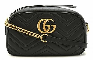 998ae509ee09 [グッチ] GUCCI GGマーモント ショルダーバッグ 斜め掛け チェーンバッグ キルティングレザー ブラック 黒