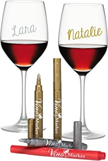 Vino Marker Metallic Wine Glass Washable Pens (4 pack) - Perfect Housewarming Present or  sc 1 st  Amazon.com & Amazon.com | Acrylic Buffet Plate 8u0027u0027 with Built in Wine Stem Holder ...