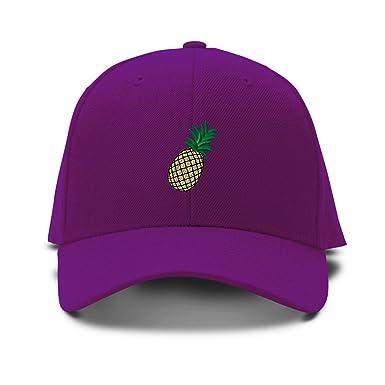 Oro piña bordado Gorra Ajustable estructurada - Púrpura - : Amazon ...