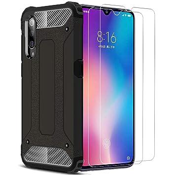 XIFAN Xiaomi Mi 9 Funda, protección contra Golpes de TPU+PC Resistente a arañazos(Doble Capa), Funda Carcasa para Xiaomi Mi 9, Negro + 2 Piezas ...