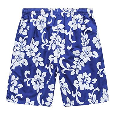 500e947fce Hawaii Hangover Men's Swim Trunk in All Over Floral Print in Royal Blue S