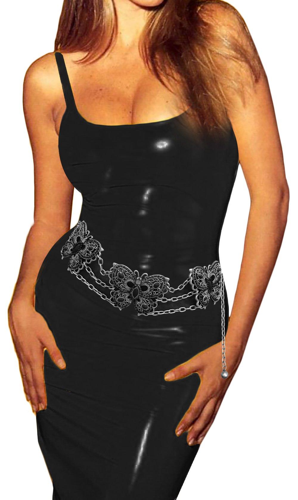 Luna Sosano Womens Rhodium Plated Fashion Antique Chain Belt - Type 50 - Black