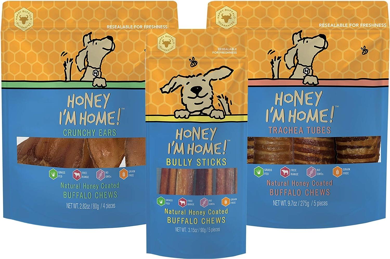 Honey I'm Home Honey Coated Crunchy Ears, Trachea Tubes, & Bully Sticks Dog Chew Variety Pack