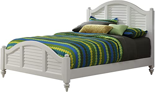 Home Styles Bermuda White Queen Bed with Mahogany Wood Solids, Brush Stroke Finish, Shutter Style Design, and Turned Feet