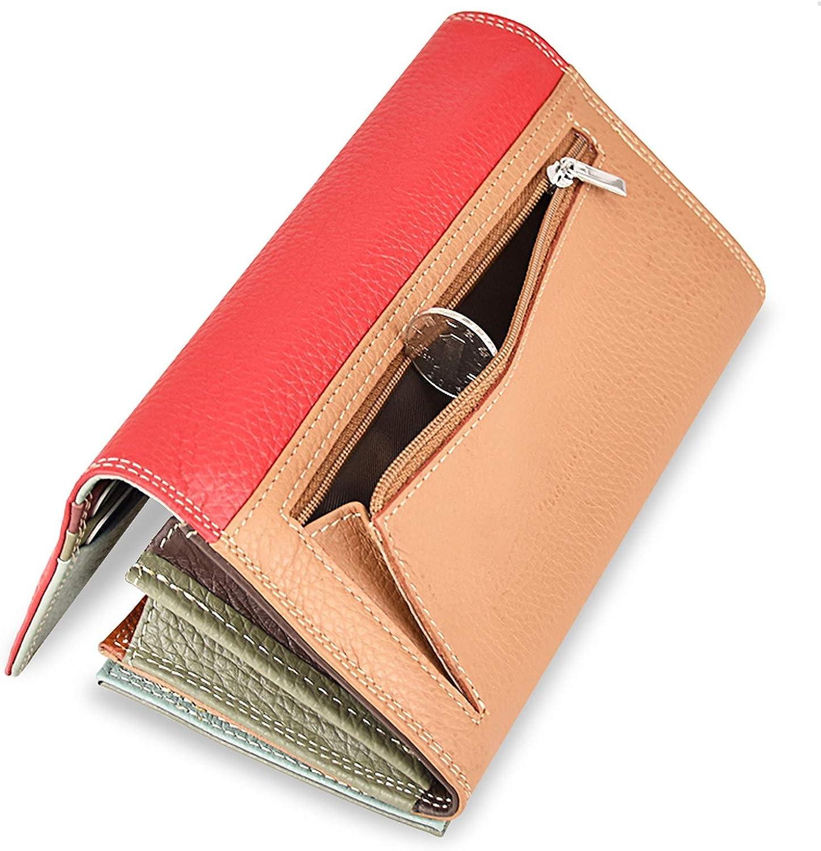 Women Wallet Luxury Brand Genuine Leather Long Female Clutch Wallet High Capacity Ladies Purse Design Money Bag,Red