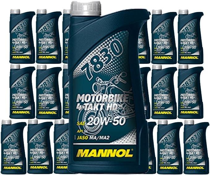 Mannol 20 X 1l 7830 Motorbike 4 Takt Hd Api Sl 20w 50 Motorrad Oel Auto