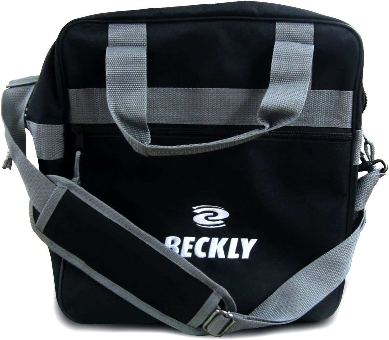 Beckly Super Bowling Tote -Bowling Bag- Fits Your Bowling Ball and Bowling Shoes- Single Bowling Ball Tote- Front Zippered Pocket and Inside Shoe Sleeves-Carry and Shoulder Straps