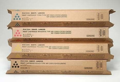 Cyan Yellow Magenta /& Black C5501 New Genuine Ricoh Toner Set for MP C4501