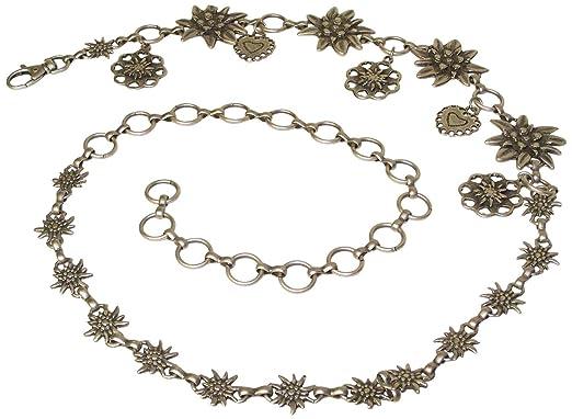 aeb742720be5 Fronhofer Ceinture chaînette de costume traditionnel allemand pour femme à  edelweiss et coeurs, sans réglage, ceinture à chaîne pour dirndl, Couleur  Argenté ...