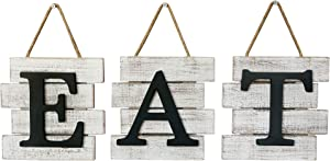 Barnyard Designs Eat Sign Wall Decor, Rustic Farmhouse Decoration for Kitchen and Home, Decorative Hanging Wooden Letters, Country Wall Art, Distressed White and Black, 24