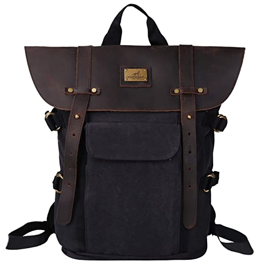 5a75e934a8 Leather Backpack for Men TOPWOLFS Canvas Backpack Vintage Rucksack fit  15.6