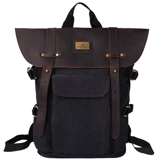 600b50c4 Leather Backpack for Men TOPWOLFS Canvas Backpack Vintage Rucksack fit  15.6
