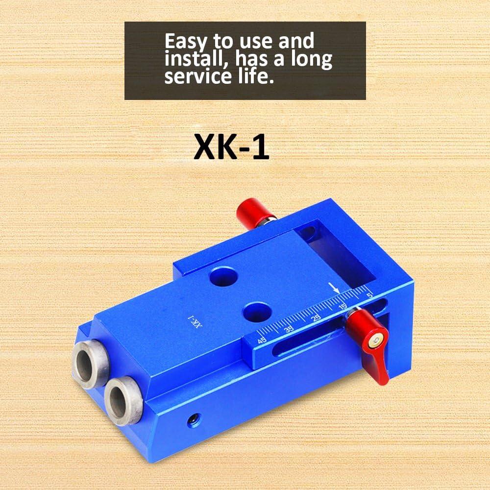 Leepesx Syst/ème oblique de kit de gabarit de trou dalliage daluminium de poche pour le localisateur de poin/çon de travail en bois avec loutil de travail du bois de Puncher de 9.5mm