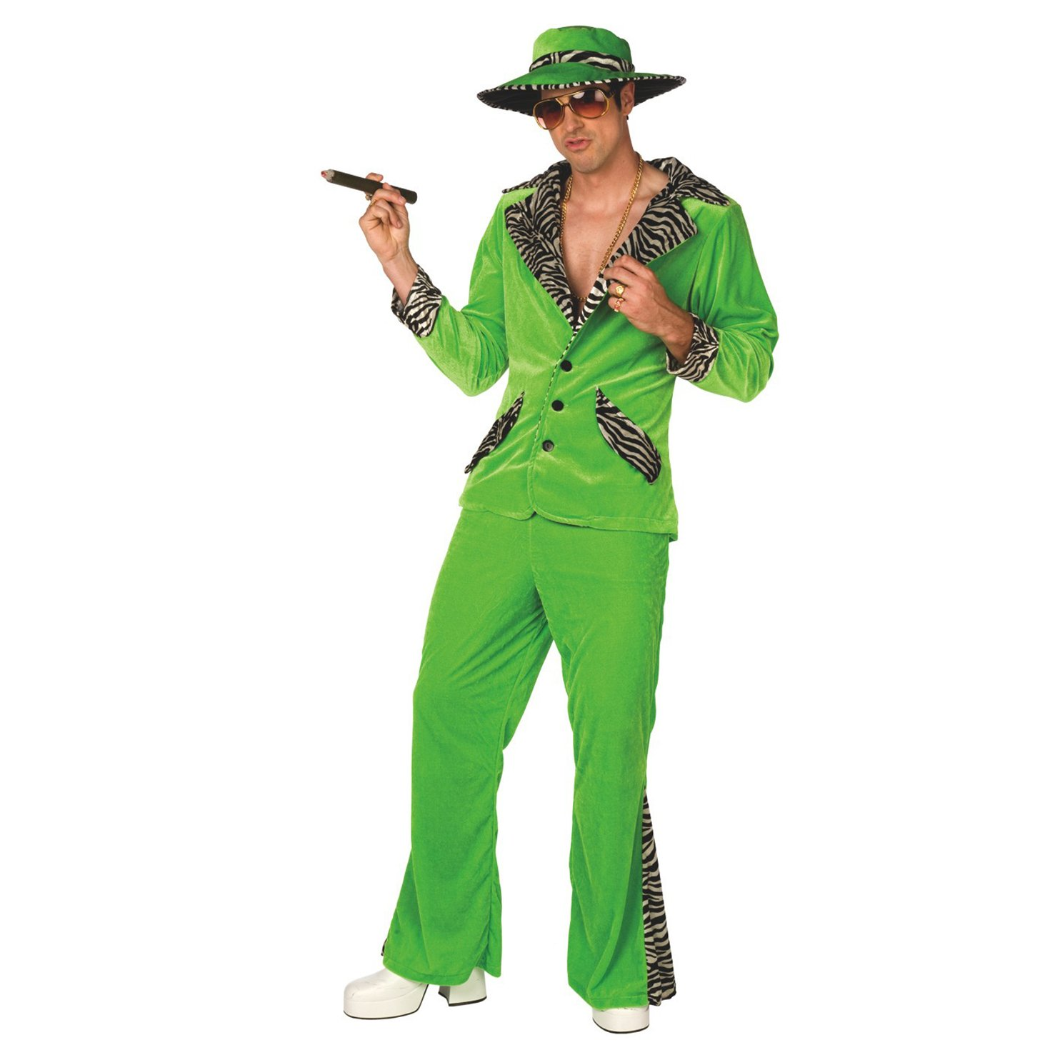 Mens Pimp Daddy Costume Green Velvet Suit for Bachelor Stag Party Fancy Dress by Morph