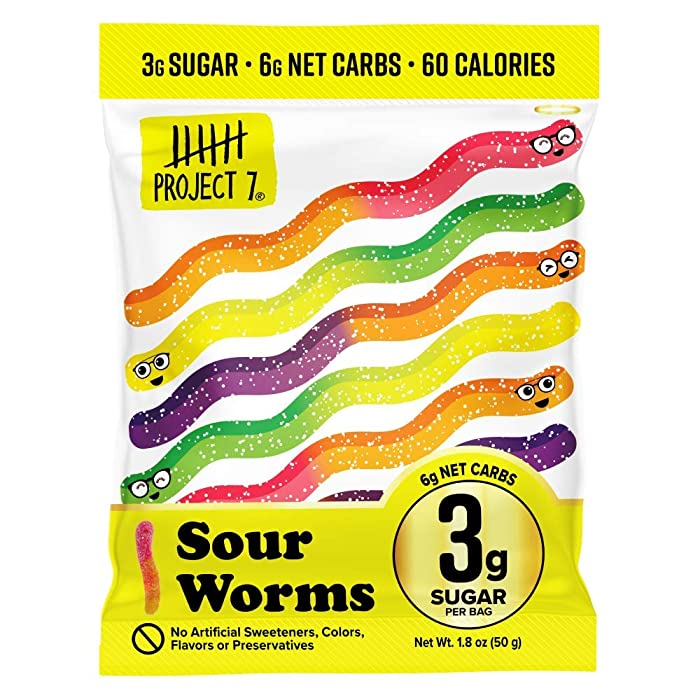 Project 7 Low Sugar Sour Gummy Worms – Keto-Friendly & Vegan Gummies With 3g Sugar, 6g Net Carbs & Low Calorie (60) – No Sugar Alcohols, No Artificial Sweeteners or Colors, Pack of 8 (1.8oz)