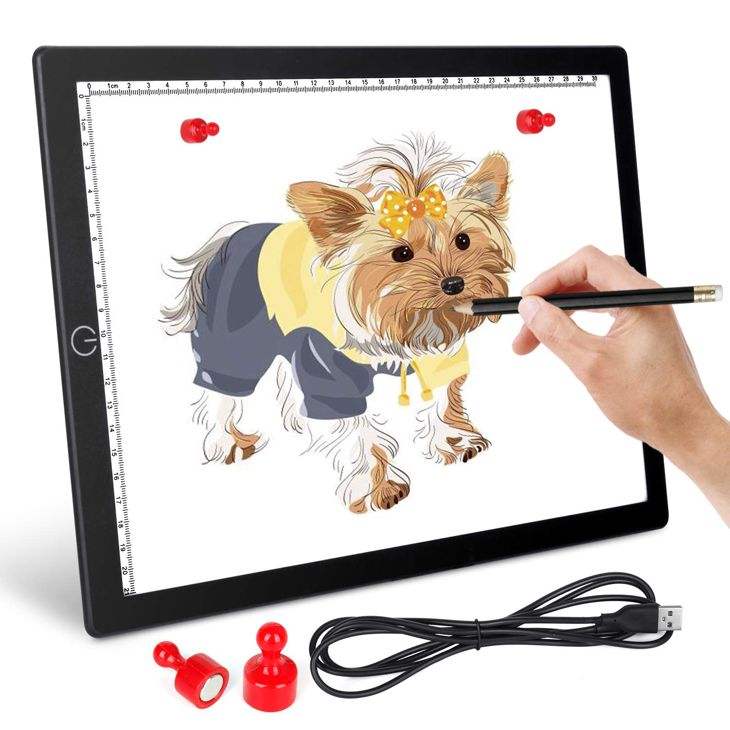 A4 LED Light Box Tracing Light Pad - Ultra-Thin Magnetic LED Tracing Light Pad with USB Powered for Artists Drawing DIY Diamond Painting Sketching Tattoo Animation Designing by Honesorn