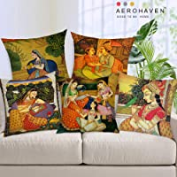 AEROHAVEN™ Set of 5 Jute Traditional Throw/Pillow Cushion Covers - CC-113