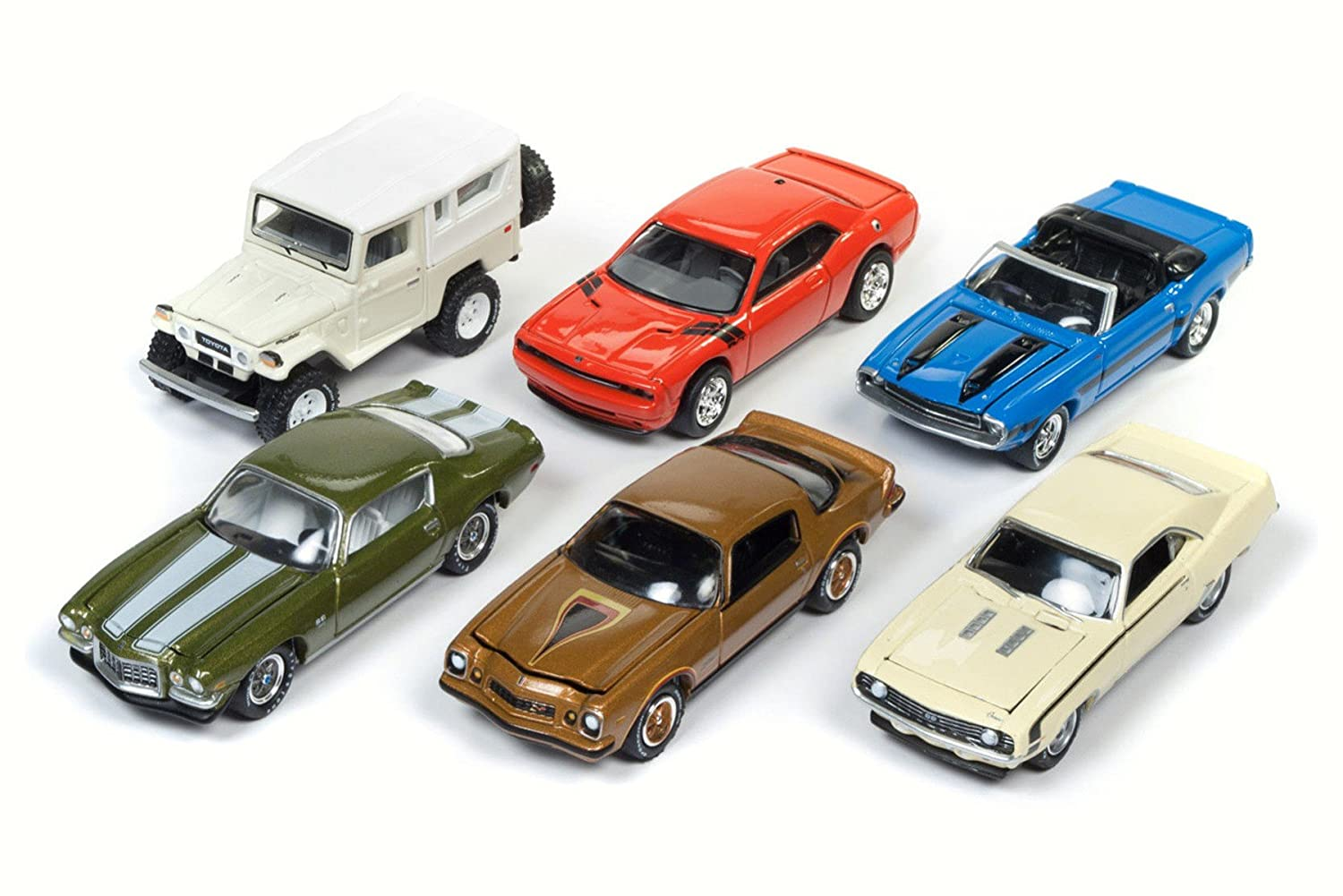 Amazon.com: Round 2 Johnny Lightning - Classic Gold 2017 Release 4 Set A Diecast Car Package - Box of 6 Assorted 1/64 Scale Diecast Model Cars: Toys & Games
