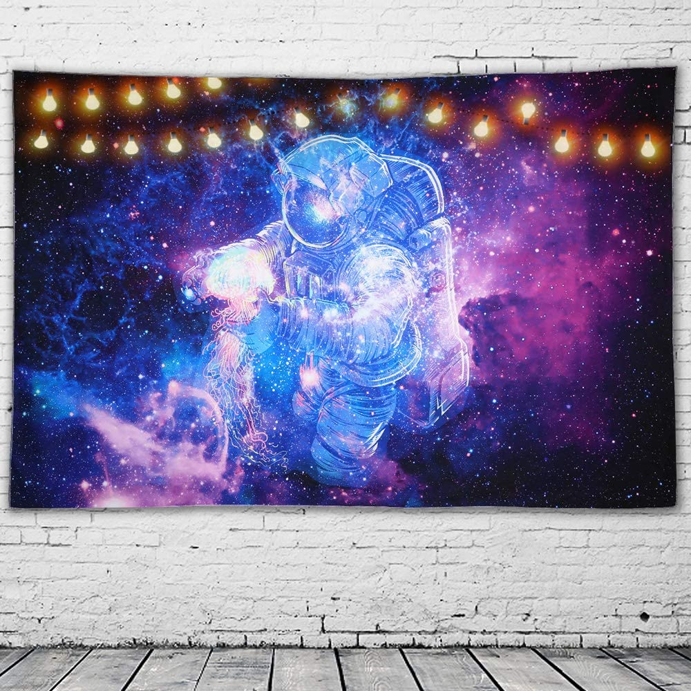 GeeRic Tapestry Space Man Tapestry Astronaut Wall Hanging Psychedelic Tapestry Starry Night Tapestry for Bedroom Dorm Decor (230x150 cms)