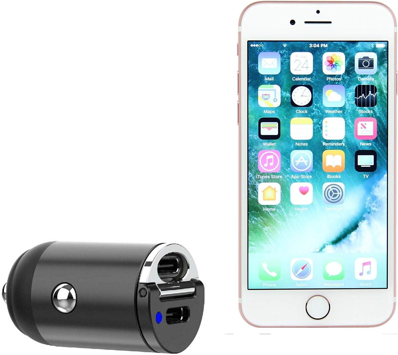 BoxWave Car Charger for Apple iPhone 7 [Mini Dual PD Car Charger] Fast, 2 USB Charger for Apple iPhone 7 - Jet Black