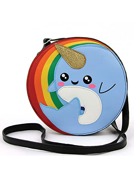 Amazon.com: Narwhal en arco iris bolsa de cruz en vinilo: Shoes