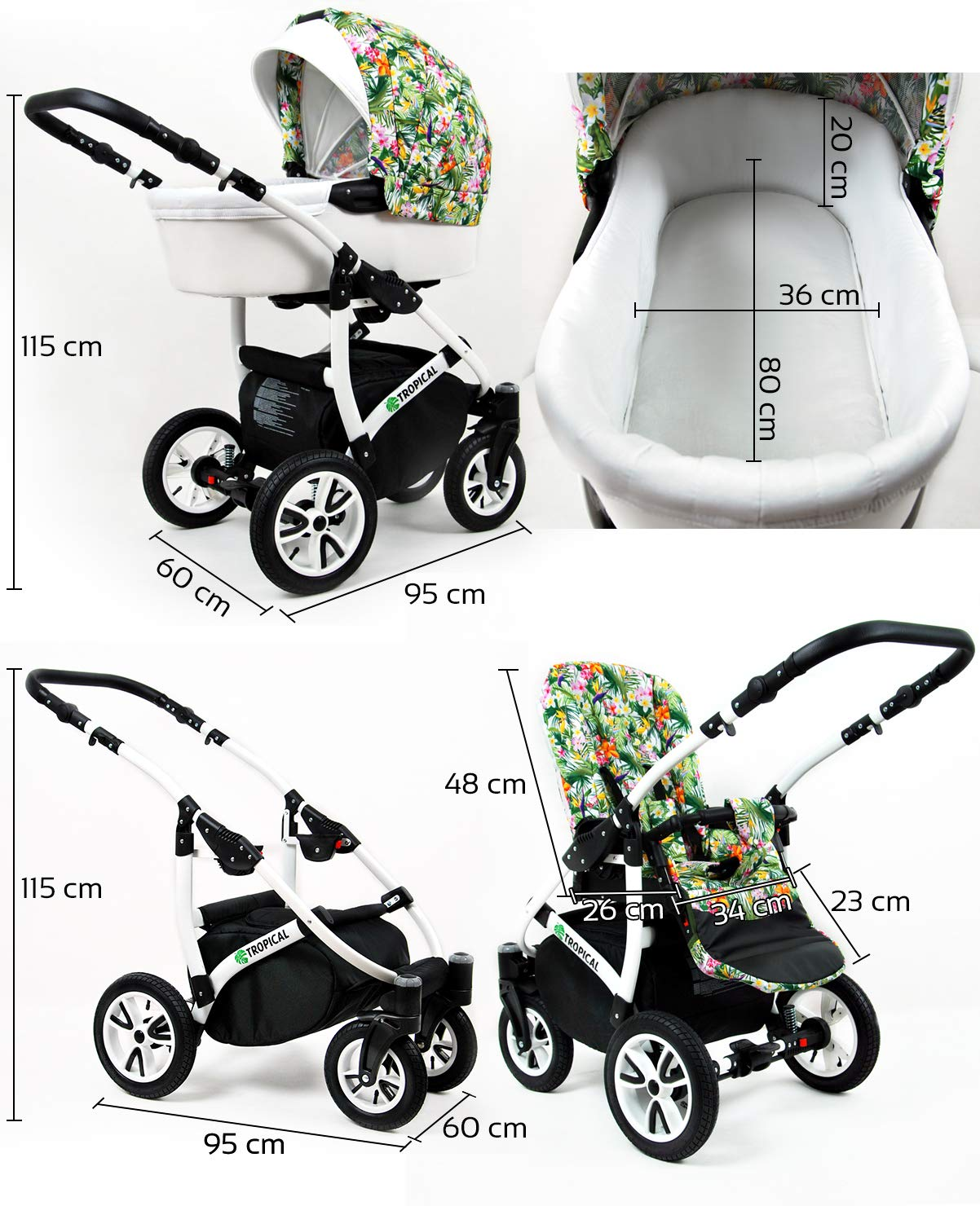 3 in 1 Set Wanne Buggy Babyschale Autositz Mint Parrots Kinderwagen Tropical