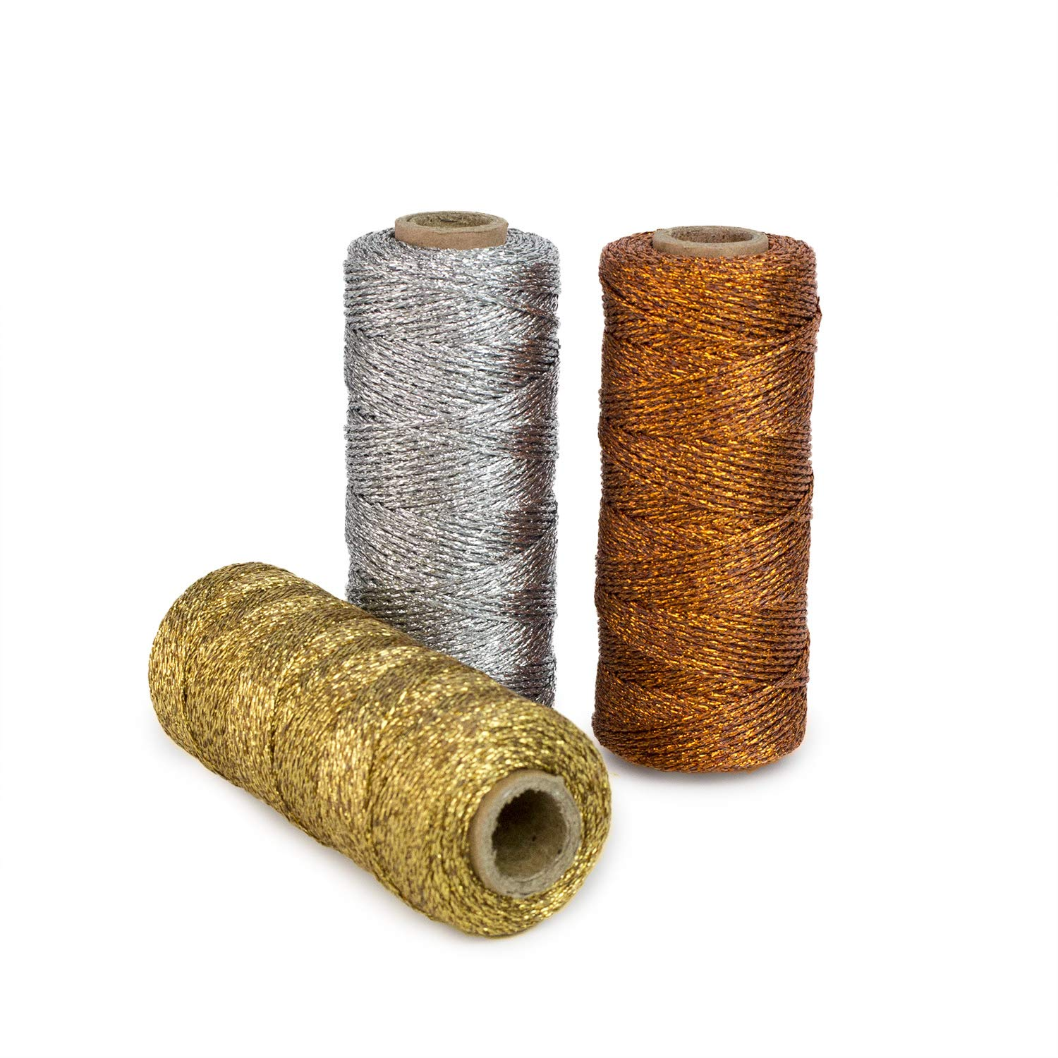 Ipalmay 100m Metallic Bakers Twine Spool 3-Ply for DIY Crafts Arts or Gift Wrapping 3 Pcs by Ipalmay