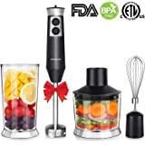 Powerful 4-in-1 Immersion Hand Blender Set, 500W Variable Speed Pure Copper Motor Stainless Steel Finish with 500ml Food Chopper, 700ml Beaker, Whisk Attachment, ETL Listed, BPA-Free
