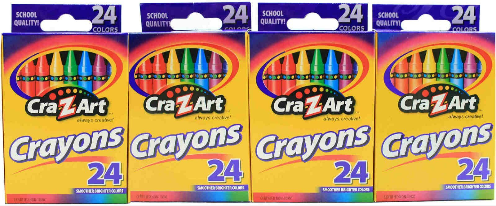 24 Pack Cra-Z-Art Crayons Non-Toxic Color Coloring School Supplies (Pack of 4) Comes with Free How to Live Stress Free Ebook