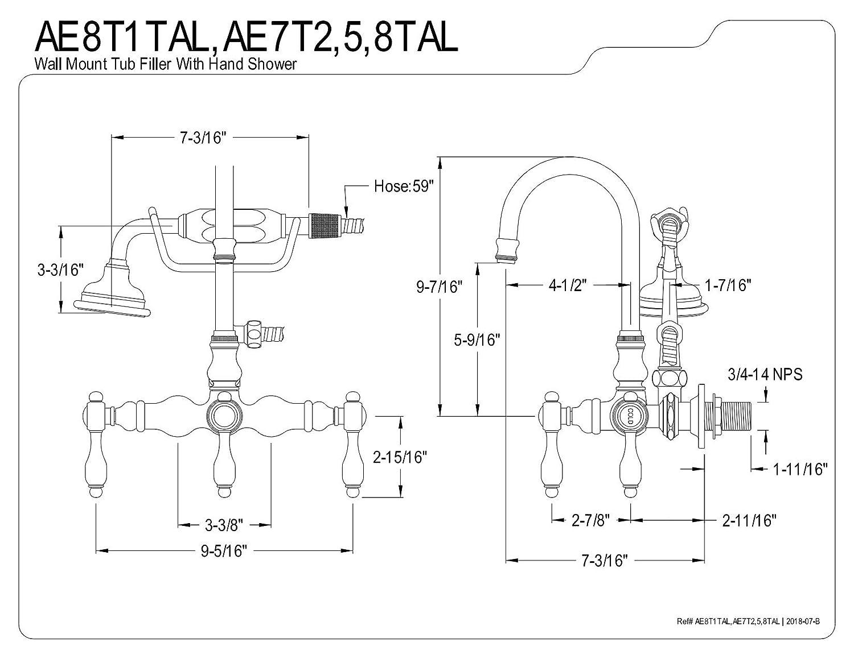 Polished Brass Kingston Brass AE7T2PKL Duchess Wall Mount Clawfoot Tub Faucet 4-9//16