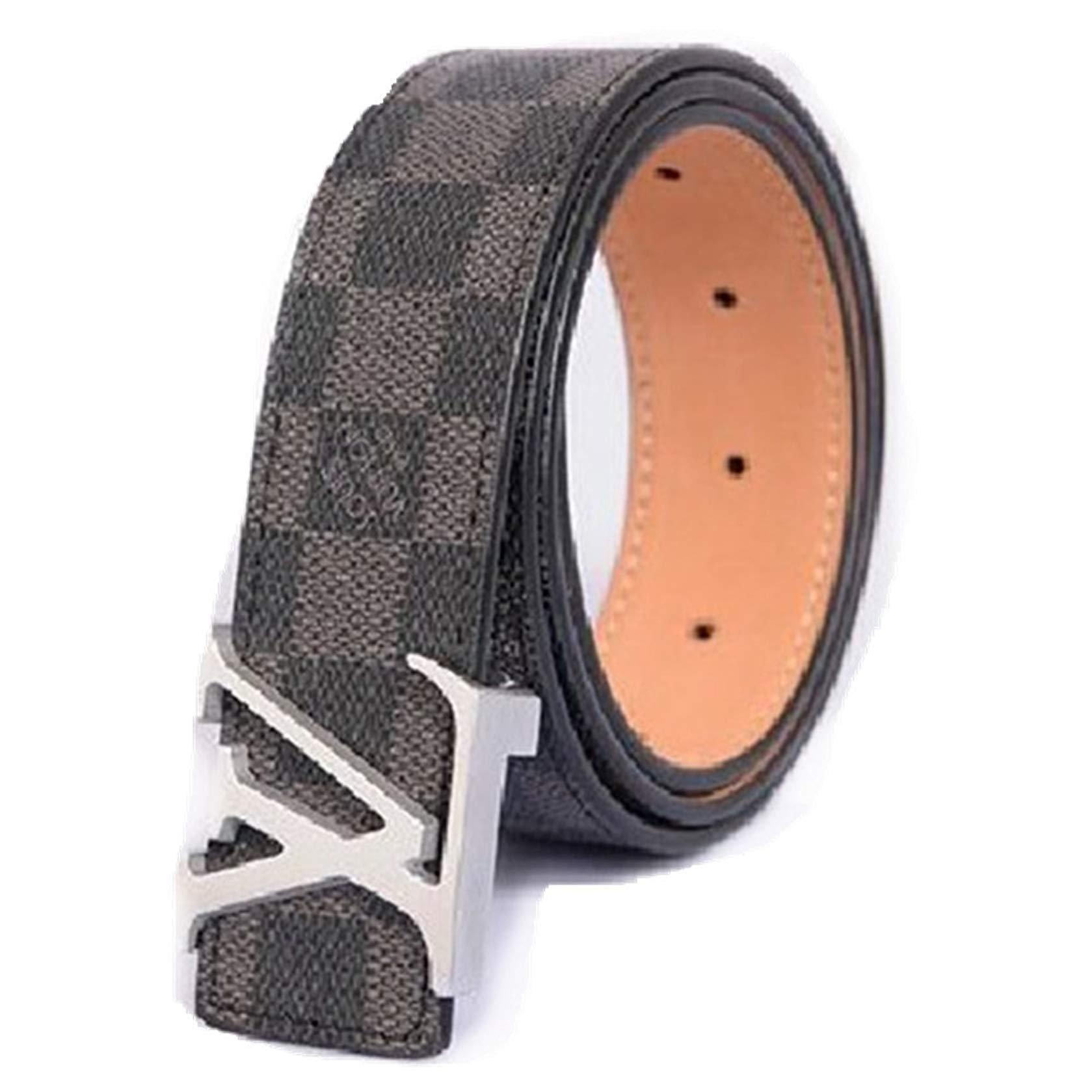 Fashion Black leather belt with Silver belt buckle