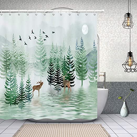 Rustic Nature Shower Curtain Fabric Bathroom Decor Set with Hooks 4 Sizes