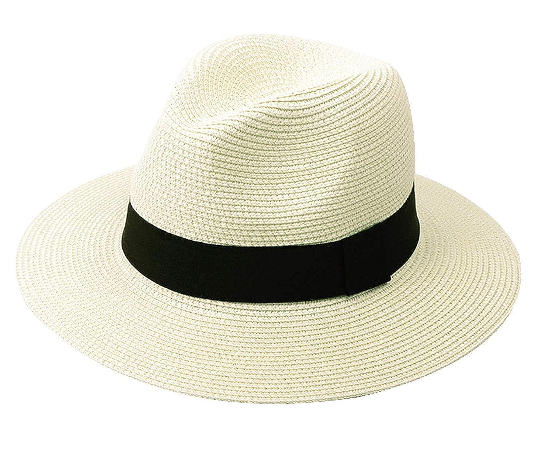 03cc3a8425be9 AVIGOR Women Wide Brim Straw Panama Roll up Hat UPF50+ Fedora Beach Sun Hat  (Beige