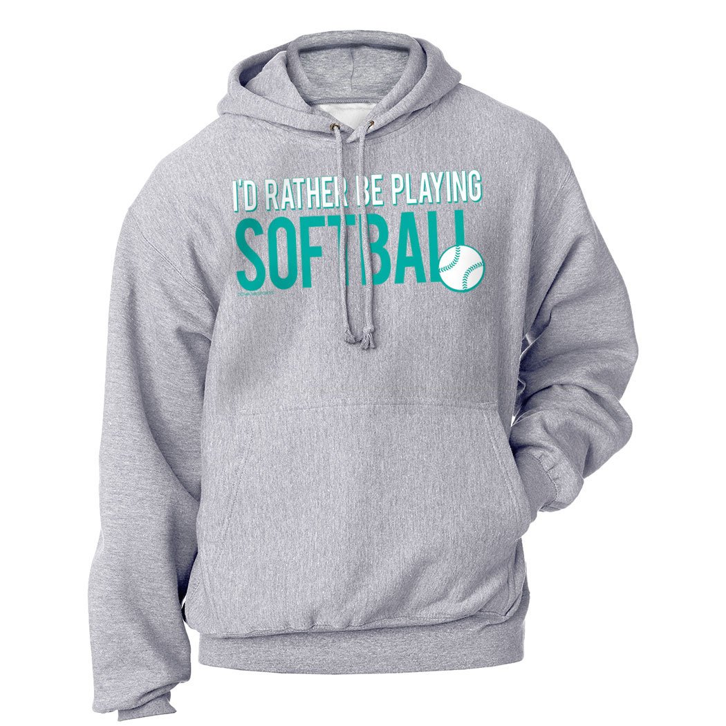 ChalkTalkSPORTS | Softball Standard Sweatshirt | I'd Rather Be Playing Softball | Youth Medium | Gray sb-00138-YM