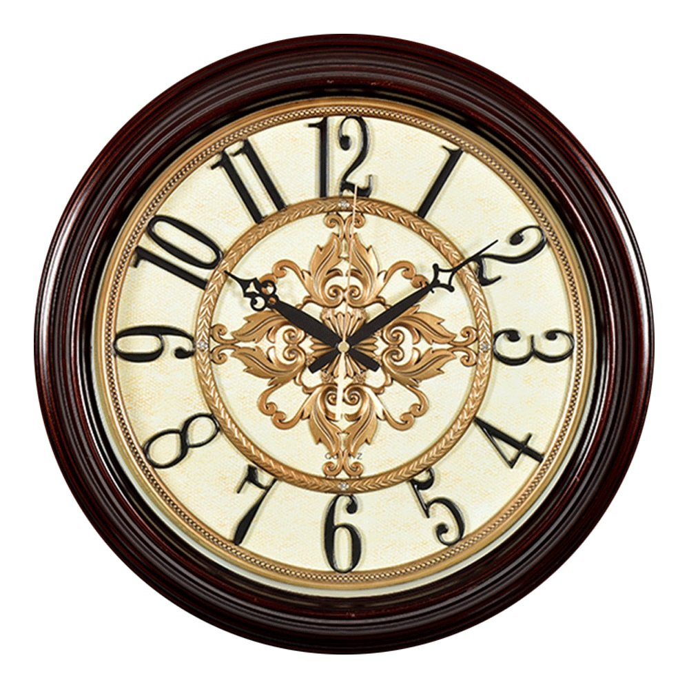 GDXRB ラージフォールウッドウォールクロックヨーロッパスタイルのリビングルームレトロクロックサイレントシンプルクォーツ時計、アラビア数字とファインテクスチャ(φ47.5cm) (パターン : A) B07DCYVHVK