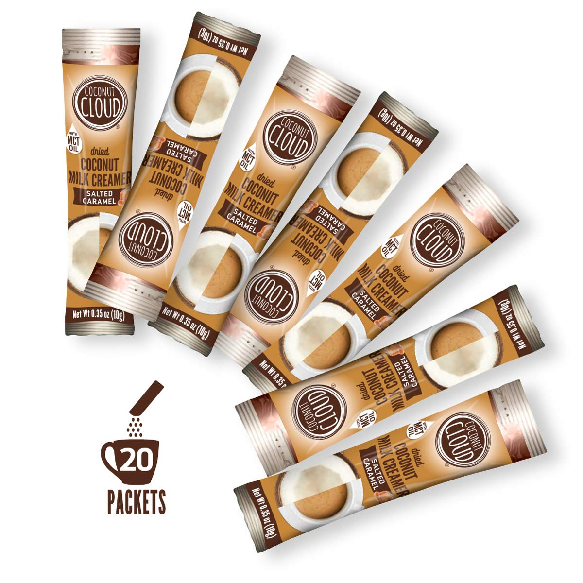 Coconut Cloud: Salted Caramel Coffee Creamer, Dairy-Free Made from Coconut Powdered Milk with MCT Oil | Vegan, Plant Based, Non GMO, Gluten & Soy Free (Portable To-Go Individual Cream), 20 servings