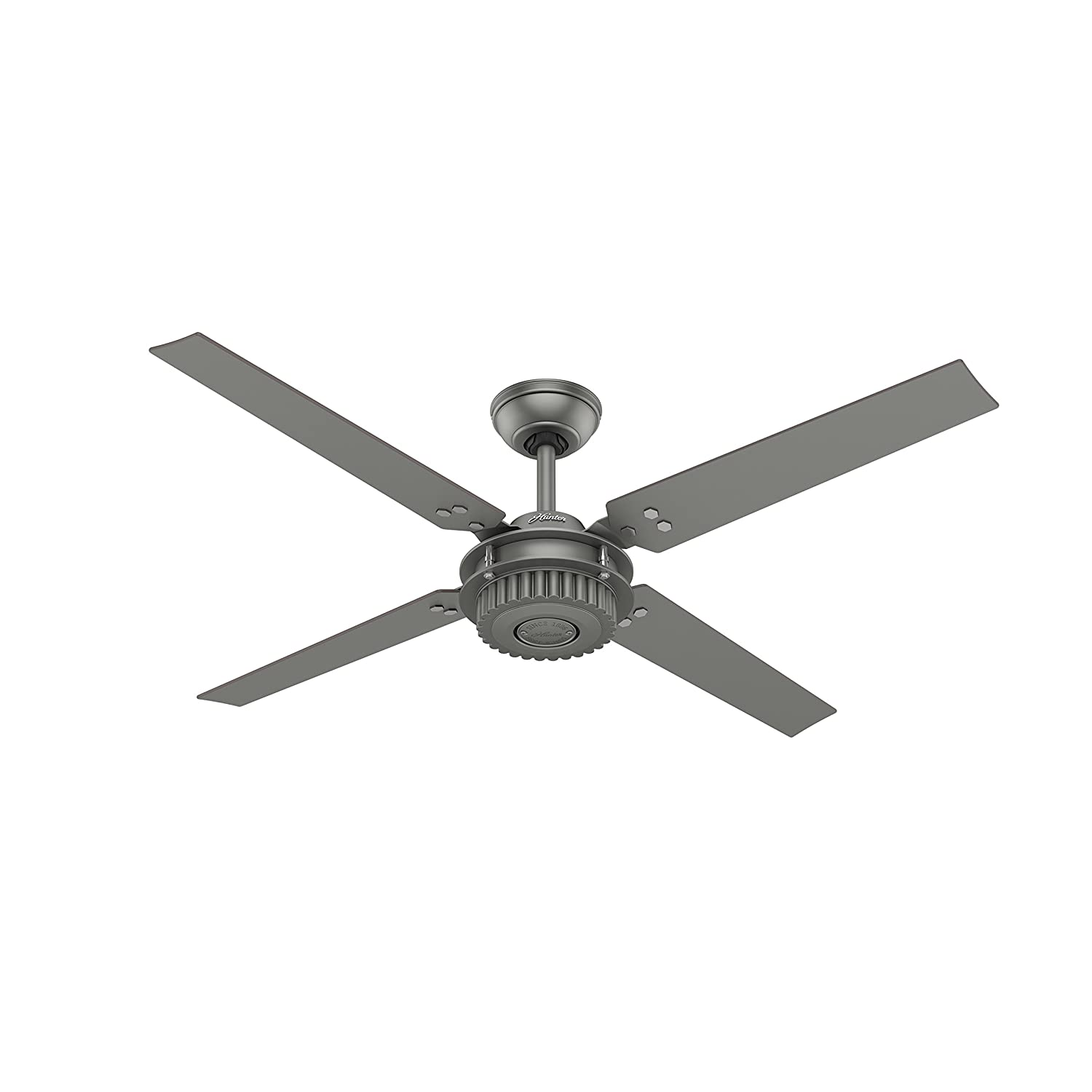 Hunter Fan 54 in. Outdoor Ceiling Fan in Matte Silver with Wall Controller Certified Refurbished