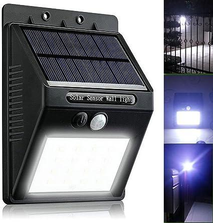 4 Extérieur Solaire DEL Lumières Auto On//Off Wall Clôture Sécurité éclairage extérieur