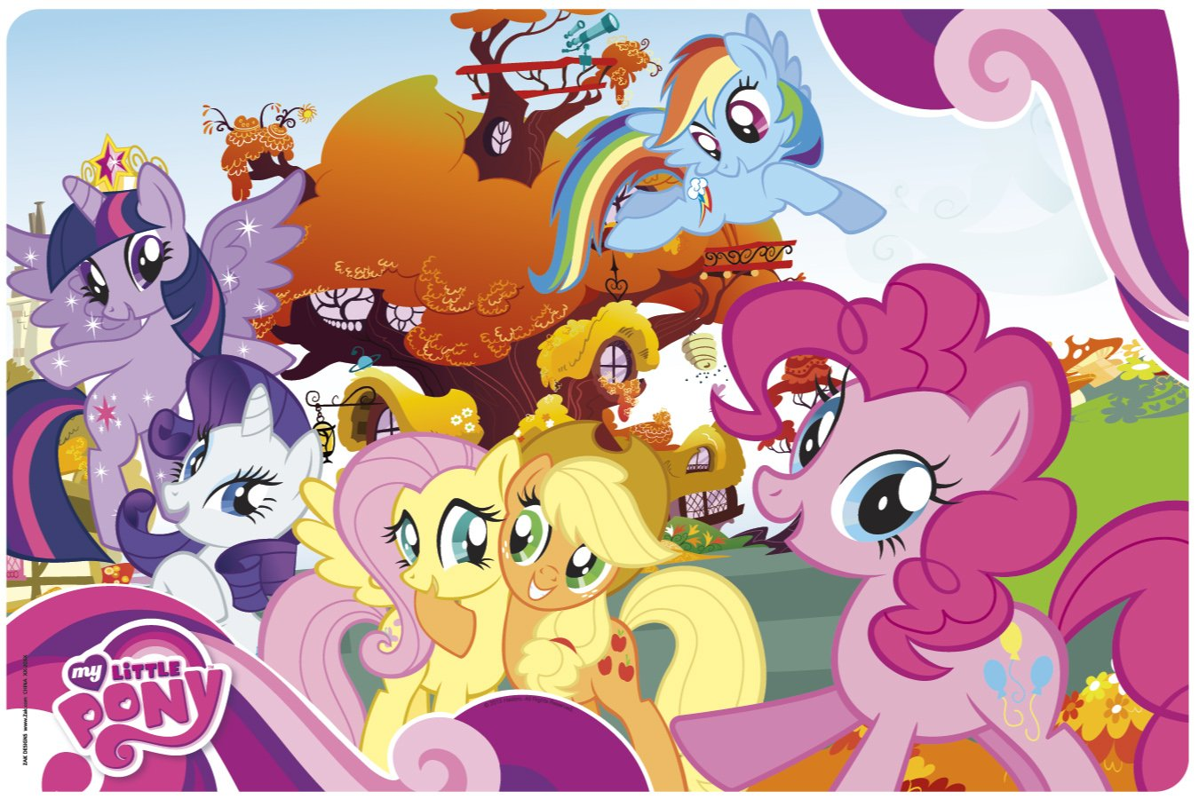 BPA-Free Plastic Item Set of 1 Multicolor MLPR-1300 4SGM Zak Designs Placemat with My Little Pony Graphics