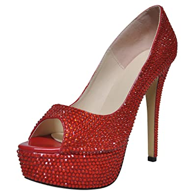 26c6d8f75 SHOELIN Red Rhinestone Heels, Luxury Handmade Crystal Glitter Party Dress  High Heel Pumps