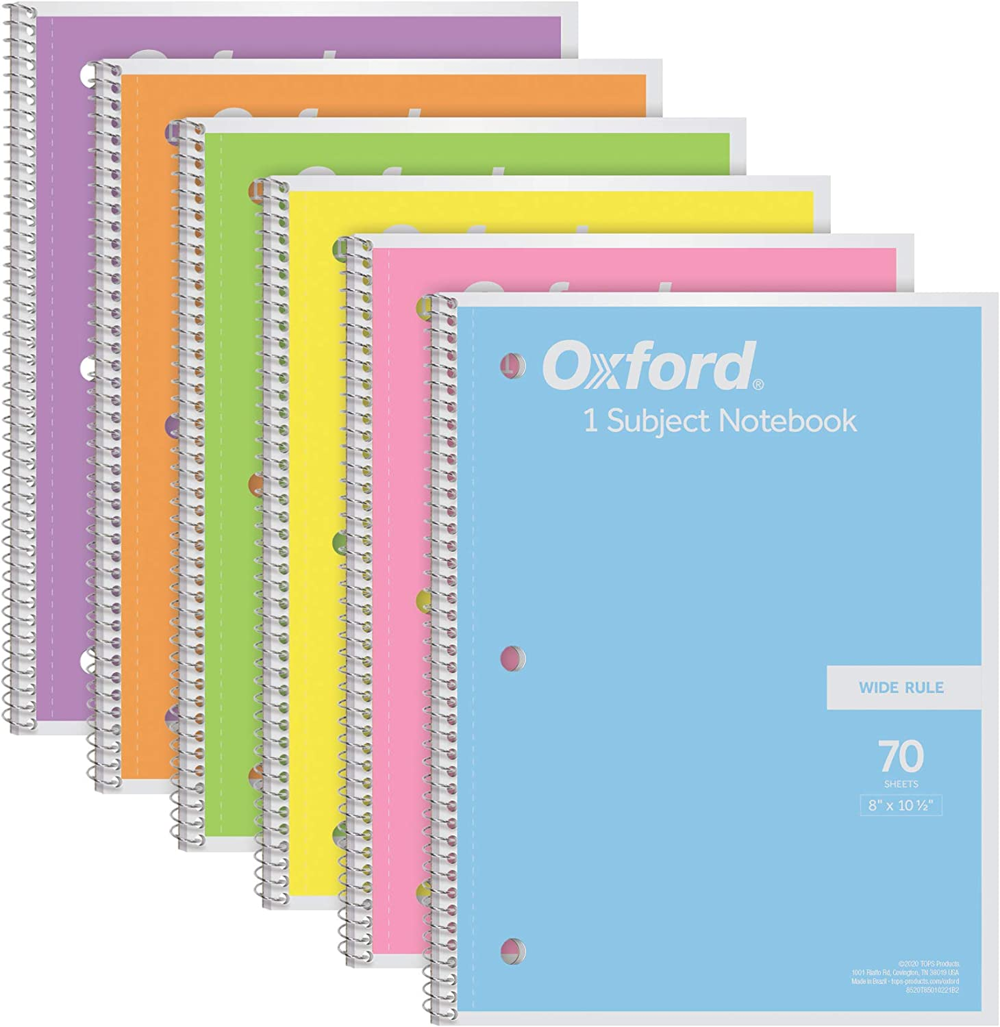 Pastel Pink Wide Ruled Paper 70 Sheets 1 Subject Yellow Oxford Spiral Notebook 6 Pack 8 x 10-1//2 Inch Blue and Purple 63757 Green Orange