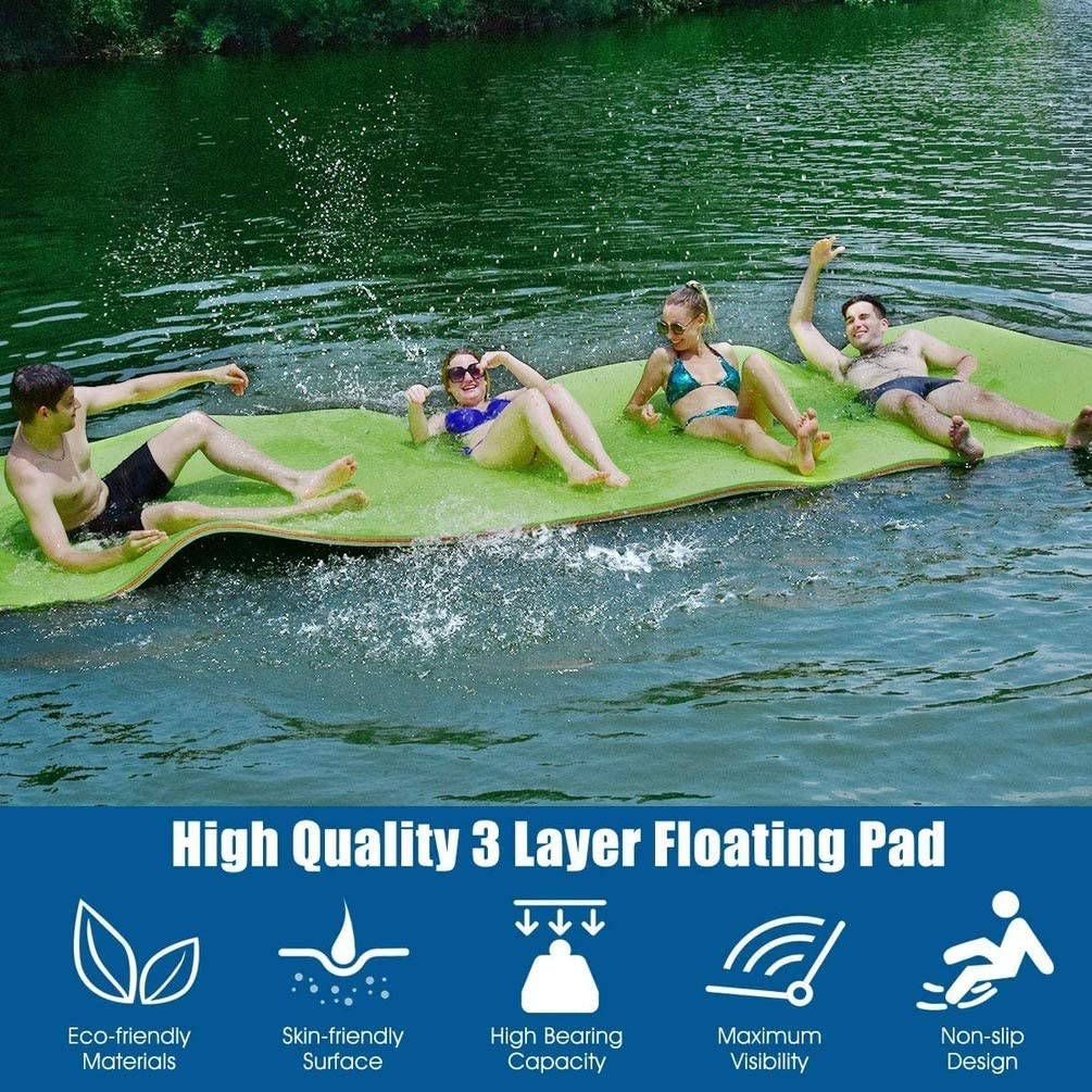 no branded Floating Water Pad Mat Bouncy Tear-Resistant 3-Layer XPE Foam Roll-Up Floating Island for Pool Lake Ocean Boat