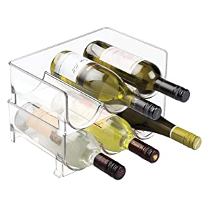 mDesign Modern Plastic Stackable Vertical Standing Wine Bottle Holder Stand - Storage Organizer for Kitchen Countertops, Pantry, Fridge - Each Rack Holds 3 Bottles, 2 Pack - Clear