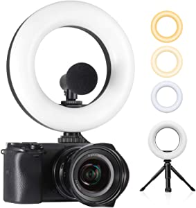 Ulanzi LED Video Light, On Camera Ring Light Bi-Color Dimmable 3200-5600K, Built-in 2000mAh Battery CRI 95+ Fill DSLR Light with Mini Tripod, Photography Lighting Photo Studio Shooting