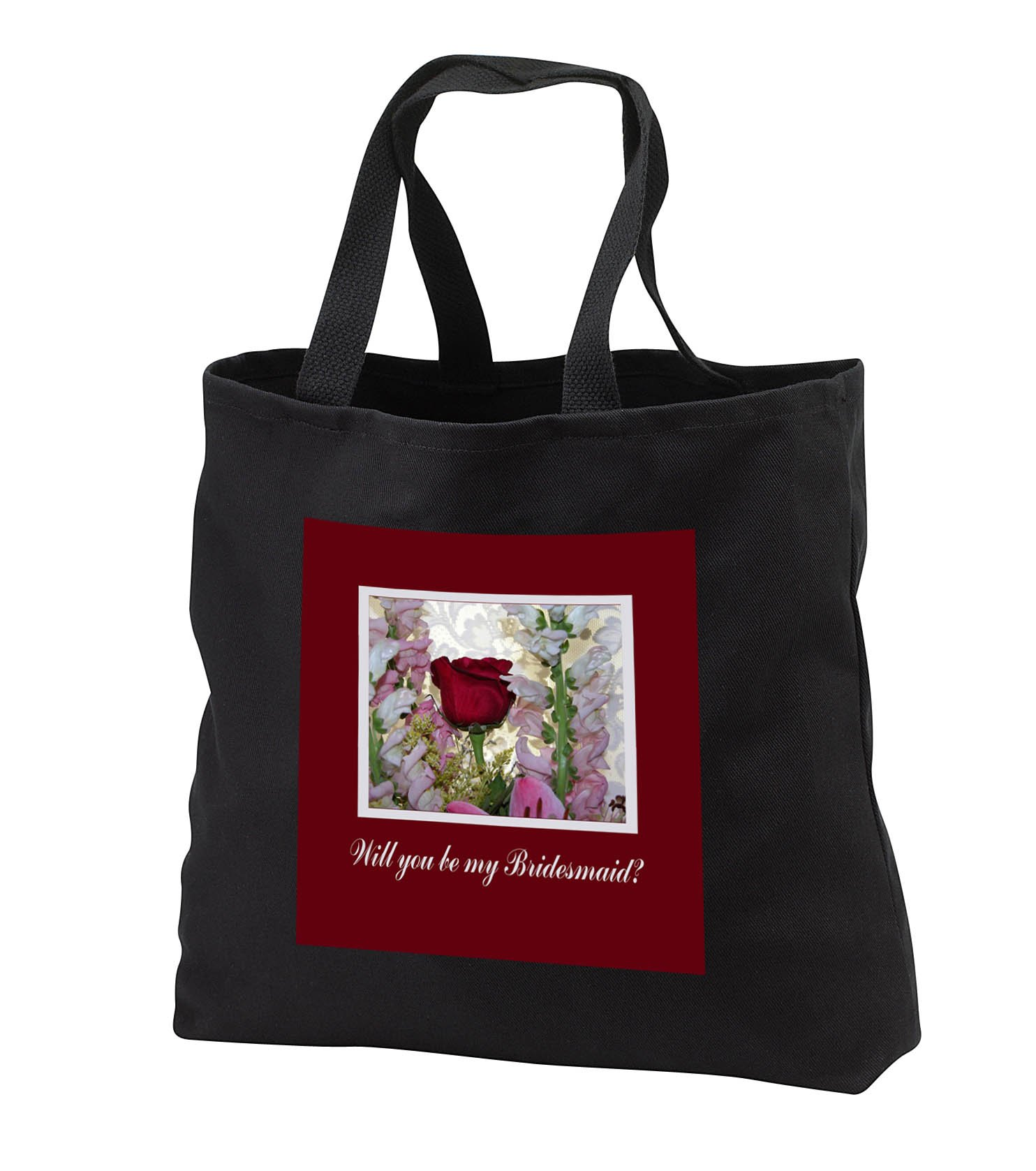 Beverly Turner Wedding Bridal Party Design - Bridesmaid Request, Roses, Gladiola, and Lilly Bouquet, Lace - Tote Bags - Black Tote Bag JUMBO 20w x 15h x 5d (tb_282206_3)