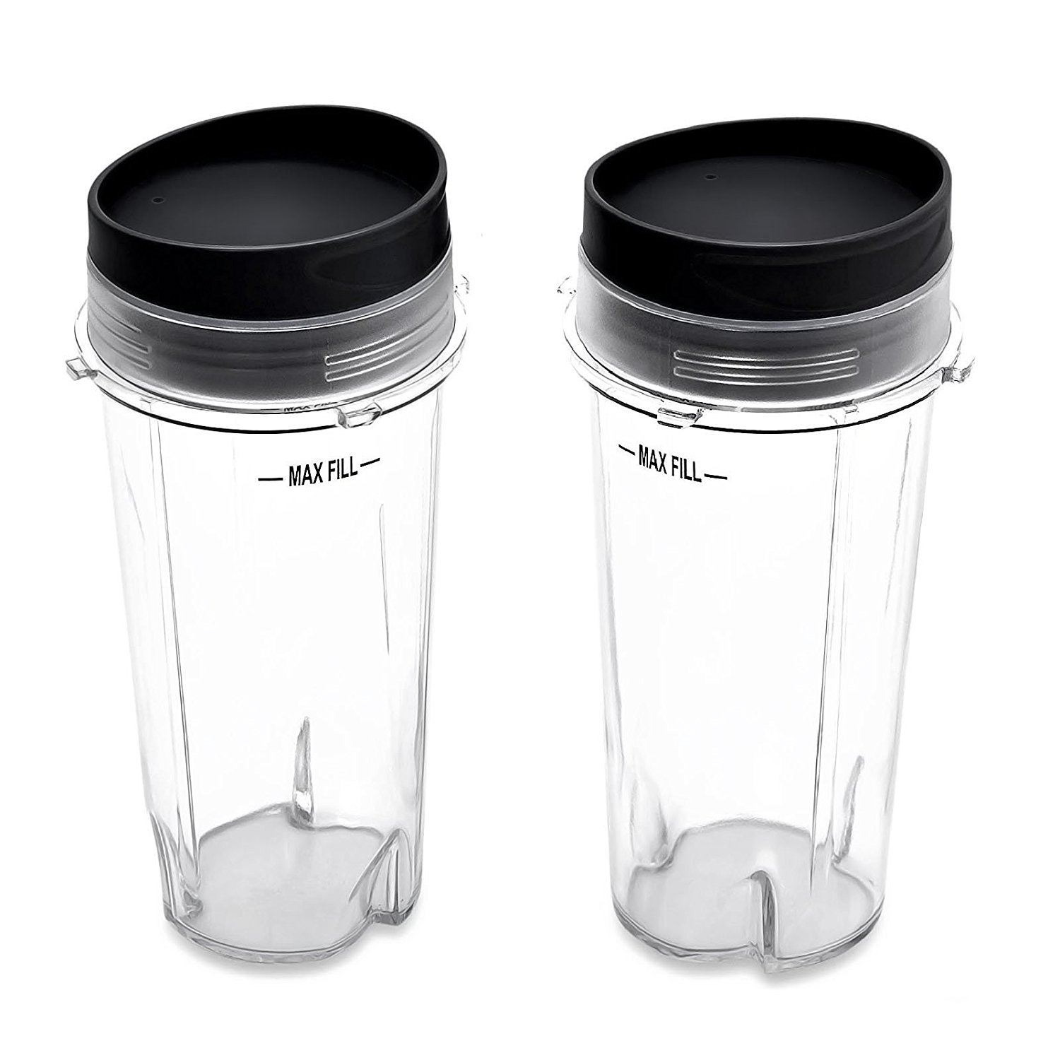 Nutri Ninja 16 oz Cups with 2 Sip & Seal Lids for BL770 BL780 BL660 Professional Blender (Pack of 2)